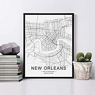 New Orleans City Downtown Map Wall Art New Orleans Street Map Print New Orleans Map Decor City Road Art Black and White City Map Office Wall Hanging 8x10 inch No Frame