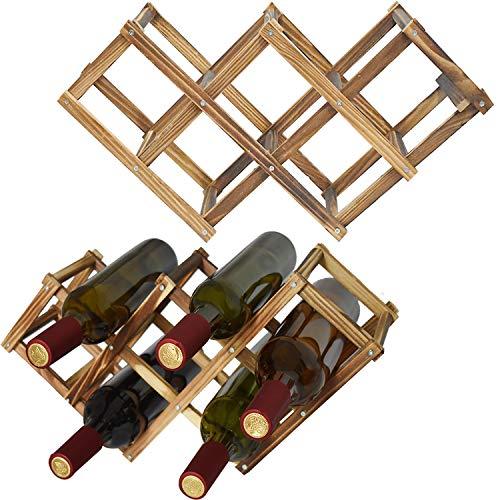 Evadow - Botellero plegable de madera para botellas de agua, almacenamiento de mesa, mostrador de vino, organizador independiente de madera natural para cocina, gabinete, expositor de 10 botellas