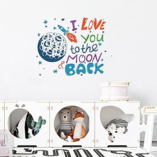 La Luna Del Amor Etiqueta De La Pared Día De San Valentín Sala De Estar Dormitorio Decoraciones Papel Tapiz Mural Colorido Pegatinas Para El Hogar