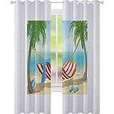 YUAZHOQI - Cortina opaca para ventana, hamaca entre palmeras en la playa, diseño de dibujos animados, composición digital, para dormitorio de niñas, 132 x 182 cm, multicolor