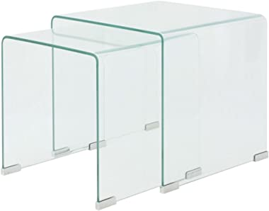 vidaXL Two Pieces Nesting Table Set Side Coffee Tea End Corner Bedside Table Collection Combined Modular Home Furniture Tempered Glass Clear