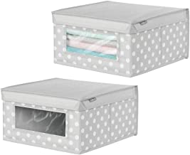 mDesign Fabric Closet Storage Organizer Box with Clear Window for Clothing Shoes Toys for Nursery Bedroom Closet Laundry R...