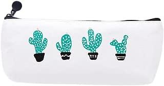 Bullidea Cactus Cute Pattern Canvas Pen Pencil Case Storage Bag for Pencils and Cosmetics 20.5 * 9.5 * 4cm Type2