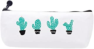 Bullidea Cactus Cute Pattern Canvas Pen Pencil Case Storage Bag for Pencils and Cosmetics 20.5 * 9.5 * 4cm Type2