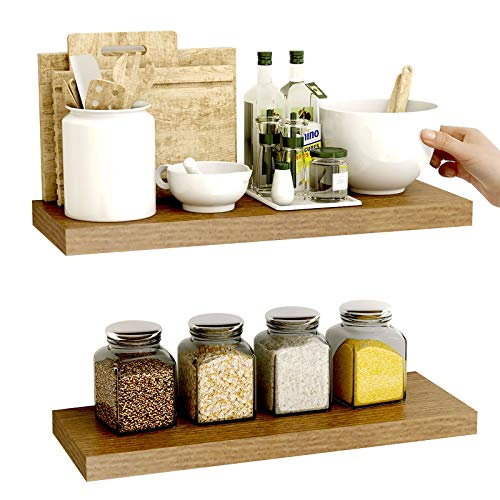 WOOD CITY Floating Shelves, Wall Shelves Wall Mounted Set of 2, Wood Rustic Floating Shelves for Wall for Bathroom, Bedroom, Living Room, Kitchen, Shelves for Wall Display Book, Plant and More