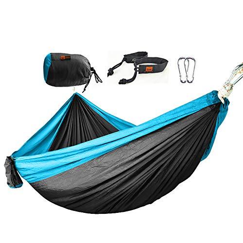 QJJML Double Camping Hammock,Hamaca balancin,Hamaca portátil, Liviana.Carga máxima 200 kg, adecuados para Interiores/Exteriores, terraza, terraza, Patio, jardín, Bar,Blue