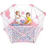 Birtech Baby Laufstall 6 Paneele Spielhof für Baby mit atmungsaktivem Netz und Aufbewahrungstasche für drinnen und draußen (weiß rosa)