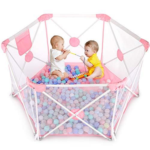Baby Laufstall, Laufgitter, Kleinkind 6-eckig Krappelgitter mit atmungsaktivem Netz, Faltbar und Tragbar für drinnen und draußen (weißrosa)