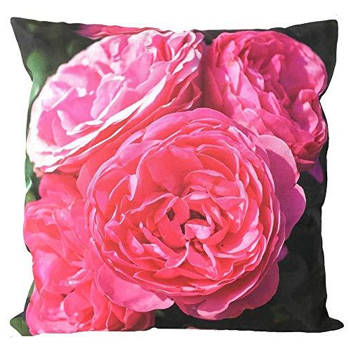 zeitzone Outdoor Kissen Rosen Pink Gartenkissen Blume Wasserabweisend 50x50cm