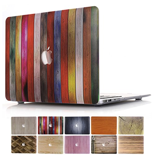 MacBook Pro 15 inch Case 2019 2018 2017 2016 Release A1990 A1707, PapyHall Wood Printin for MacBook Pro 15' (2019/2018/2017/2016) Plastic Hard Shell Cover A1990/A1707 Touch Bar - (Wood-Colorful)