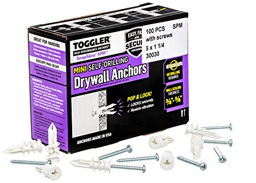 TOGGLER SnapSkru SPM Mini Self-Drilling Drywall Anchor with Screws, Glass-Filled Nylon, Made in US, For #6 to #8 Fastener Sizes (Pack of 100)