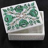 Caja de joyería de mármol blanco con forma rectangular, caja de mármol para tallar anillos con piedras preciosas de malaquita incrustadas de estilo floral elegante para tocador de mesa
