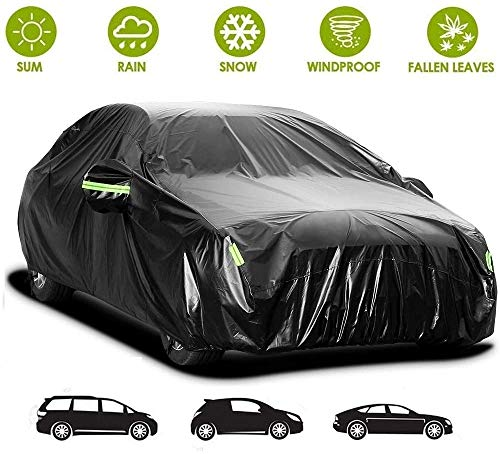 Sailnovo Autoabdeckung PKW Abdeckplane Autogarage, Car Cover Vollgarage Ganzgarage Autoplane Wasserdicht Autoabdeckplane, Phosphoreszierend Auto Abdeckung Plane Autohülle Sommer 440 * 180 * 160cm