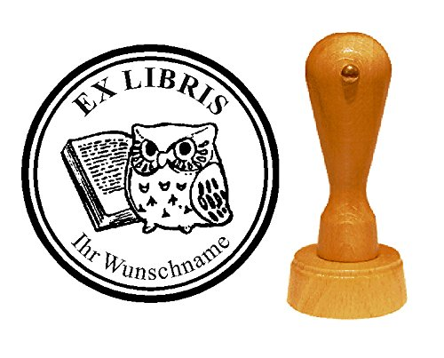 Ex Libris Exlibris Stempel Uil met boek - met persoonlijke wensnaam en motief