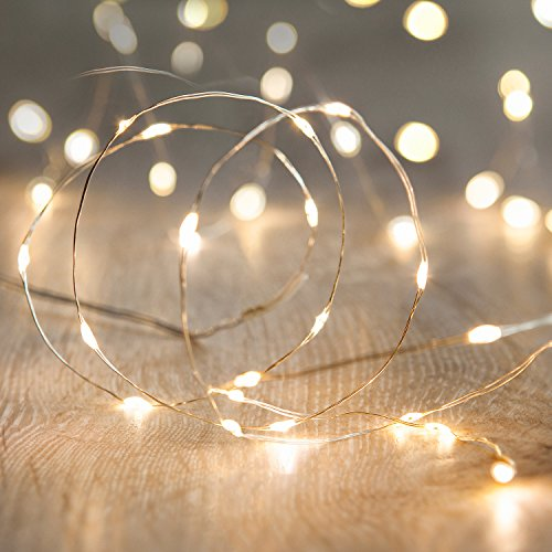 Lights4fun - Filo di 20 Micro LED Bianco Caldo a Pile su Cavo Metallico