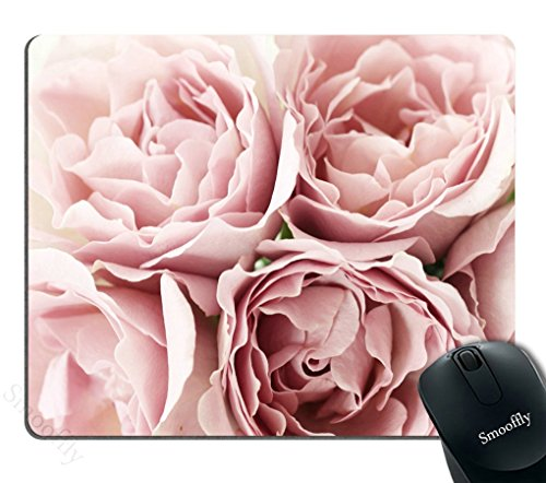 Smooffly Pink Roses Rugosa Flower Personality Desings Mouse Pad, Retro Floral Art Mousepad Mat Custom