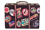 Baúl KD 1291 Maleta, juego de maletas, cofre de madera con cuero noble cubierto de aspecto vintage, cofre del tesoro, caja 36cm B x 25cm T x 12cm H