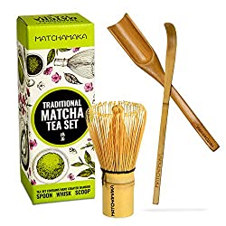 🍵 Enhance your matcha tea experience with this beautifully hand-crafted authentic matcha tea set. MATCHAMAKA whisks up a delicious cup of lump-free frothy matcha tea every time. The 100 pronged bamboo whisk creates the best crema and froth. The scoop...
