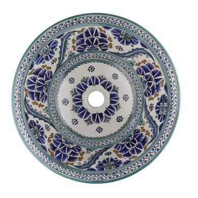 Sishia - blauwe Marokkaanse wastafel - keramieken | opzetwastafel 40 x 16 cm | Marokkaanse wastafel voor badkamer toiletten gastentoilet