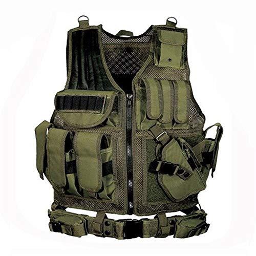 Armee Taktische Ausrüstung Military Molle Weste Jagd Rüstung Weste Airsoft Gear Paintball Kampf Schutzweste for CS Wargame Outdoor (Color : Green, Size : One Size)