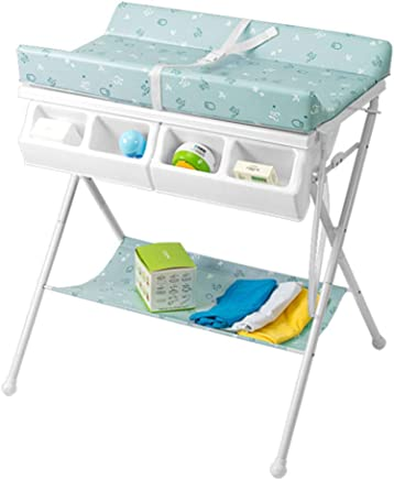 Unique Design Baby Changing Clothes Diaper Table  Massage Care Table  with Bathtub Diaper Storage Basket  Green