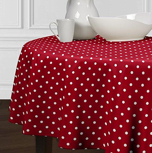 LuxeHome - Tovaglia da tavolo in stile moderno, a pois, colore: Rosso e Bianco 60' Round Multi