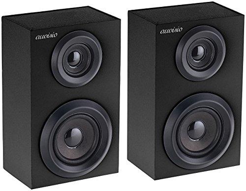 auvisio Funklautsprecher: 1 Paar TWS Stereo-Regal-Lautsprecher, Bluetooth, Holzgehäuse, 2x10Watt (HiFi Boxen)