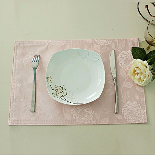 XXSZKAA Creative Rose Jacquard Table Pad Étanche Table Mat Western Plaque Pad Isolation Pad Bol Pad Étudiant Plaque Pad Ménage Coaster Cuisine Table Décoration, Rose, 45 * 30 Cm