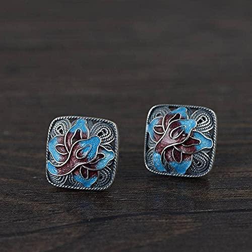 Pendientes para las mujeres quemando azul geométrico Peony Flowe Ear Studs China Classical Jewelry 925 Sterling Silver