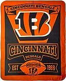 Officially Licensed NFL Cincinnati Bengals 'Marque' Printed Fleece Throw Blanket, 50' x 60', Multi Color