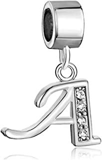 Dangle A-Z Letter Initial Charm Clear Alphabet Beads for Charm Bracelets