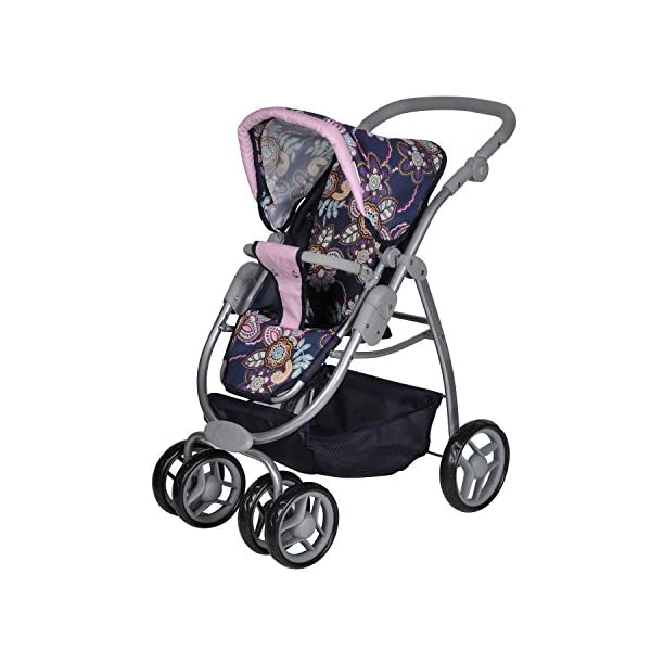 Knorrtoys 90778 Blue Flowers knoortoys Doll Carriage Coco Knorrtoys Height adjustable handle (43-82 cm) Purchases can be stored in the shopping basket Used as a pram with carrycot or sports buggy it always looks great 5