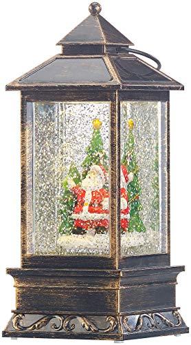 infactory Weihnachtslaternen: Deko-LED-Laterne mit Schneewirbel, Weihnachtsmann und Tannenbaum (LED Laterne Schnee)