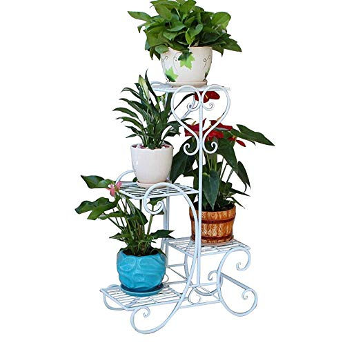 EVFIT Modern Flower Potted Holder Rack Plant Stand Indoor 4 Tier Wrought Iron Shelf Plant Rack Outdoor Garden Flower Pots Display Holder (Color : White, Size : 52x82cm)