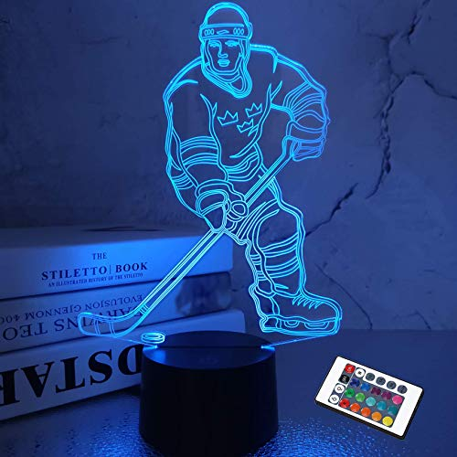 kingam Luz de noche de hockey sobre hielo 3D, lámpara LED de ilusión para atleta, cambio de control remoto, ventilador deportivo, decoración del hogar, regalo de cumpleaños para niños