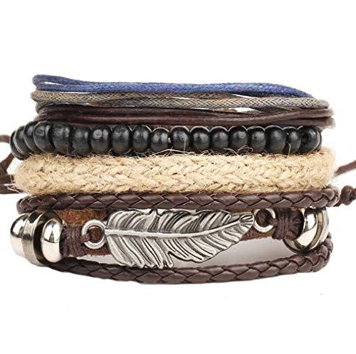 ICHQ Armband, Mode Herren Leder Armbänder Mehrfache Kombinationen Armreifen Schmuck Armband Mens Geschenk Zubehör Leather Bracelet (A)