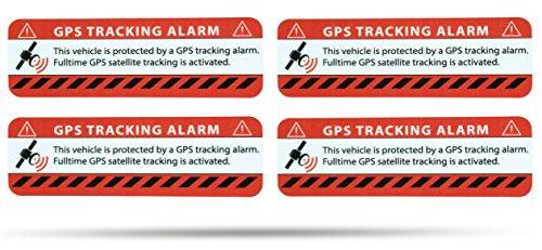SECYOURITY - GPS Alarm Aufkleber PKW - Warnaufkleber für Auto & LKW (rot, 4)