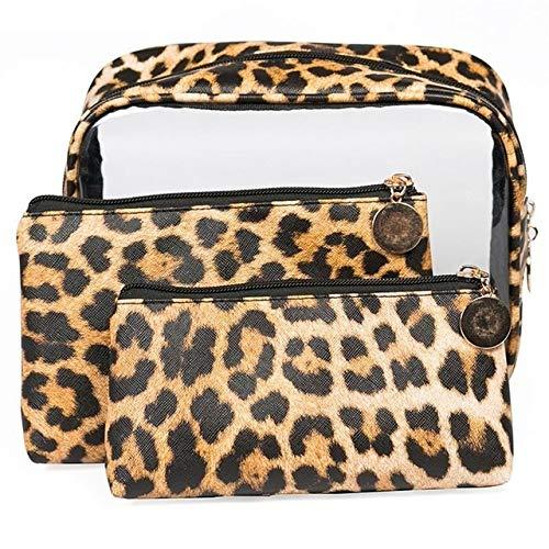 PoplarSun 3PCS Nouveau Mode Motif léopard PVC Transparent Sac cosmétique Sac Anti-éclaboussures Portable cosmétiques for Les Femmes Sac de Toilette Dames