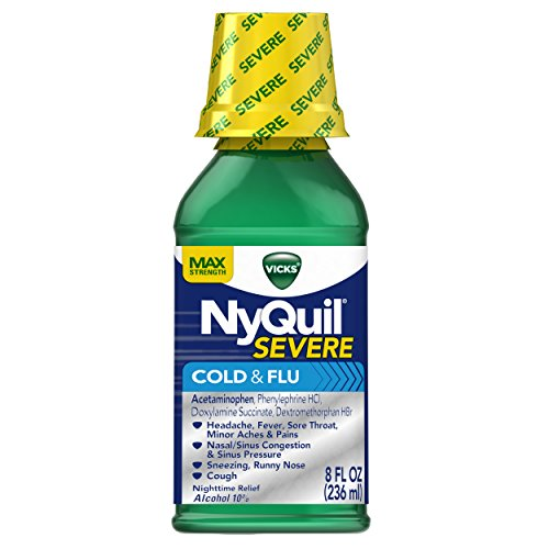 Vicks NyQuil SEVERE Cough Cold and Flu Nighttime Relief Liquid, 8 Fl Oz - Relieves Nighttime Sore Throat, Fever, and Congestion