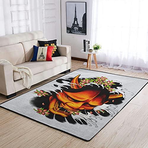 Tobgreatey Alfombra japonesa Hannya Oni con flores, para el dormitorio, color blanco, 122 x 183 cm