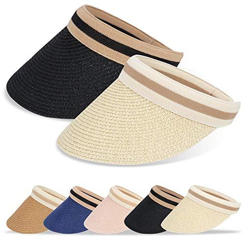 BLURBE Visiera Parasole - Cappello di Paglia Donna Sole,Spiaggia Paglia Estate Visiere Berretto Paglia Golf Ampio per Anti-UV e Passeggiata Sport (Beige s)