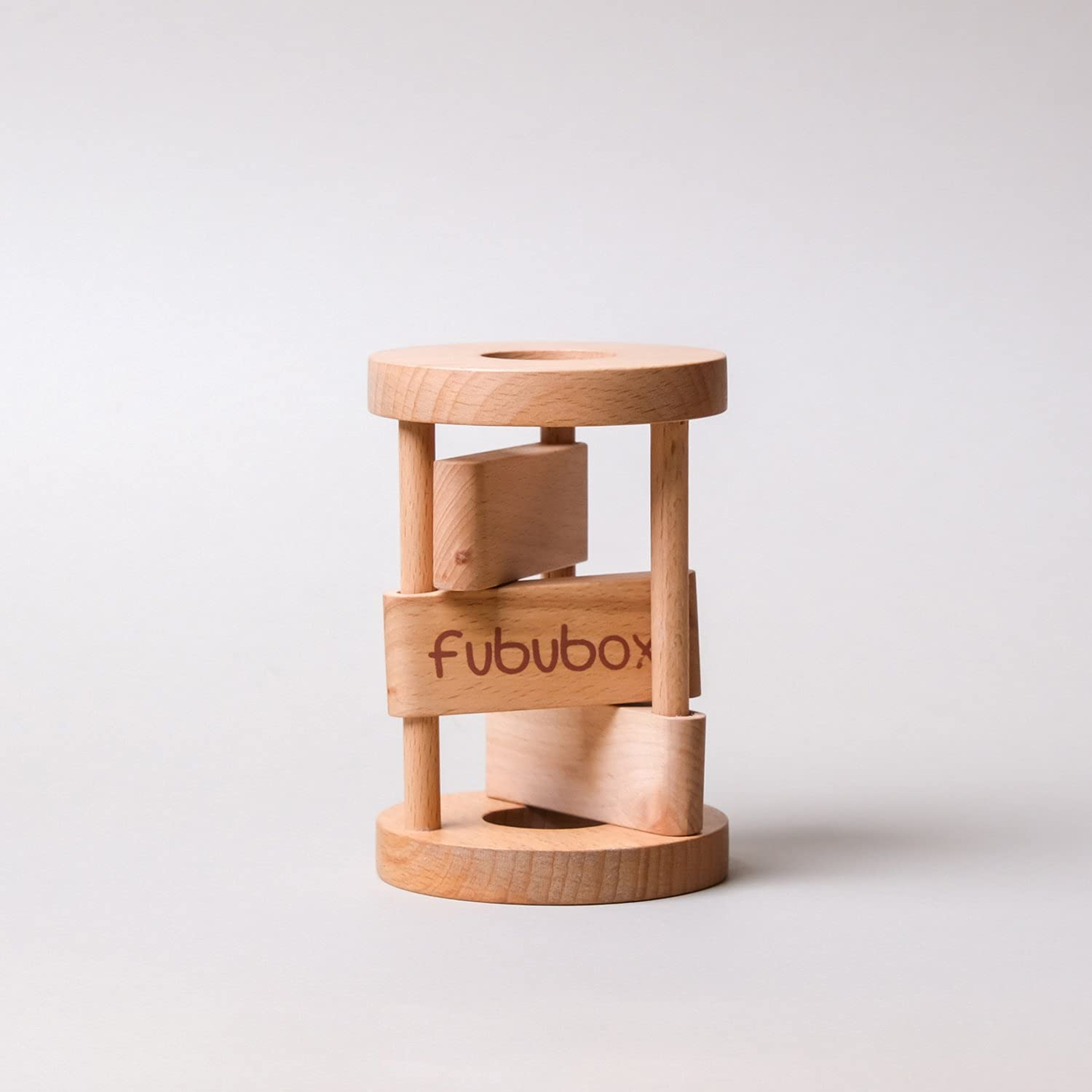 Fububox Wooden Montessori Rattle which Makes a Click clack Sound and Rolls on The Floor