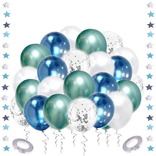Luftballons Gold Weiß, 53 Stück Luftballons Metallic Gold Konfetti Balloons mit Sterngirlande, Bändern für Hochzeit, Geburtstag, Babyparty, Silvester Deko (grün blau weiß)