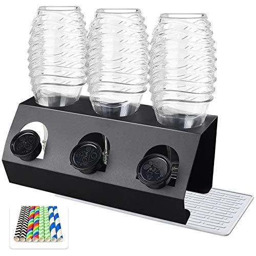 CSYY Premium Edelstahl Flaschenhalter für SodaStream, 3er Abtropfhalter für Soda Stream Crystal,Easy, Abtropfbehälter für SodaStream Flaschen, Abtropfgestell Flaschenhalter + Strohhalm Papier