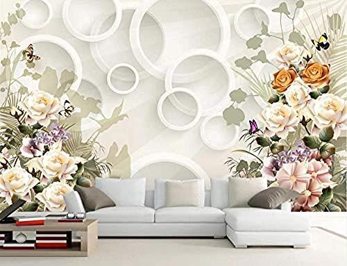 ZZXIAO Elegante handgemalte Rose Blume Schmetterling Ring Badezimmer Tapete Schlafzimmer Tapete Wohnzimmer wandpapier fototapete 3d effekt tapete Wohnzimmer Schlafzimmer Hintergrundbild-350cm×256cm