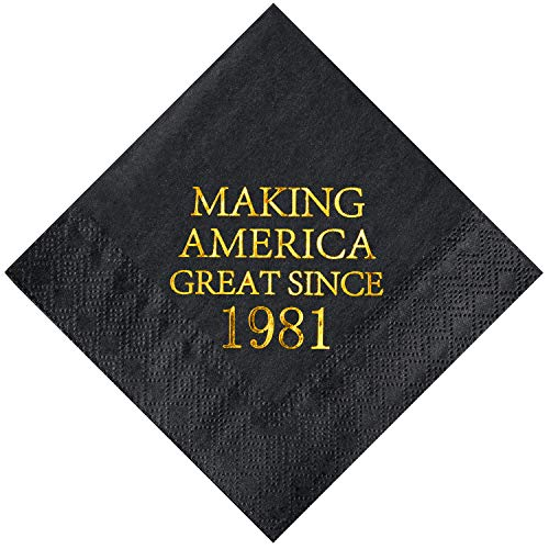 Crisky 40th Birthday Disposabel Napkins Black and Gold Dessert Beverage Cocktail Cake Napkins 40th Birthday Decoration Party Supplies for Man Making Great Since 1981, 50 Pack 4.9x4.9 Folded