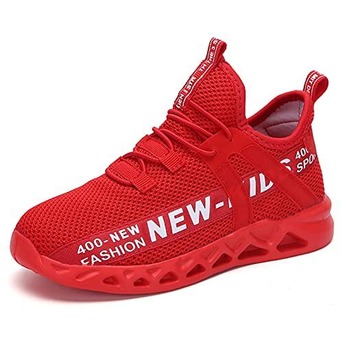 Niños Zapatillas Deportivas Niño Calzado Deportivo Niñas Zapatillas De Correr Zapatos De Walking Exterior Interior Transpirable Cómodo Talla 38 EU, Rojo