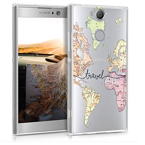 kwmobile Cover Compatibile con Sony Xperia XA2 - Custodia in Silicone TPU - Backcover Protettiva Cellulare Mappa del Mondo Nero/Multicolore/Trasparente