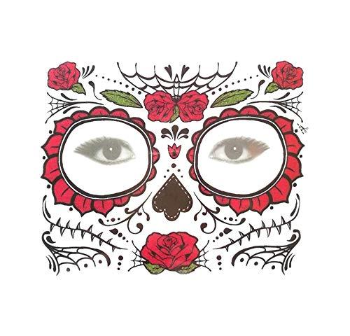 Dag van het dode masker uit Mexico – zwart, eenvoudig aan te brengen en te verwijderen, 1 dag gebruik voor Halloween, carnaval of kostuum feest in carnaval. rood