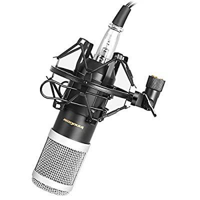 InnoGear Cardioid Studio Condenser Microphone Professional Recording Singing Broadcasting Microphone Set with Shock Mount and XLR Audio Cable for Laptop Desktop Computer